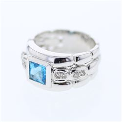 Princess cut Topaz Bezel-set Diamond Ring in 18K White Gold - REF-93A6N