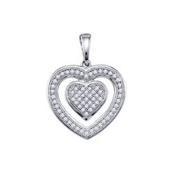 0.2 CTW Natural Diamond Micropave-set Heart Love Charm Pendant 10K White Gold