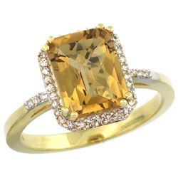 Natural 2.63 ctw Whisky-quartz & Diamond Engagement Ring 14K Yellow Gold - REF-42K2R