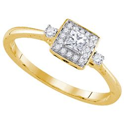 0.25 CTW Princess Natural Diamond Solitaire Bridal Engagement Ring 14K Yellow Gold