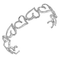 0.12 CTW Natural Diamond Heart Love Bangle Bracelet 10K White Gold