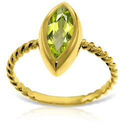Genuine 2 ctw Peridot Ring Jewelry 14KT Yellow Gold - REF-39N3R