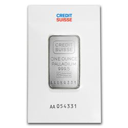Genuine 1 oz 0.9999 Fine Palladium Bar - Credit Suisse
