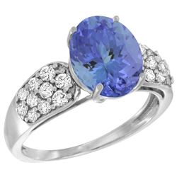 Natural 2.74 ctw tanzanite & Diamond Engagement Ring 14K White Gold - REF-104N9G