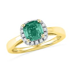 1.51 CTW Emerald Lab-Created Emerald Solitaire Ring 10K Yellow Gold