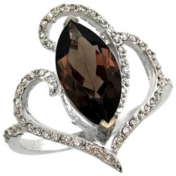 Natural 3.33 ctw Smoky-topaz & Diamond Engagement Ring 14K White Gold - REF-77H5W