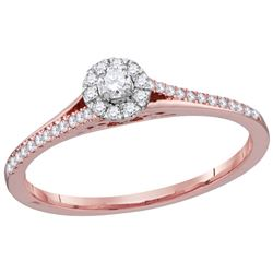 0.21 CTW Natural Diamond Solitaire Bridal Engagement Ring 10K Rose Gold
