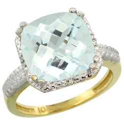 Natural 4.89 ctw Aquamarine & Diamond Engagement Ring 10K Yellow Gold - REF-60F3N
