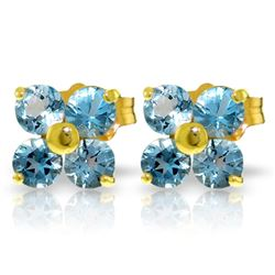 Genuine 1.15 ctw Blue Topaz Earrings Jewelry 14KT Yellow Gold - REF-19R3P