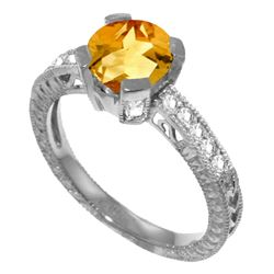 Genuine 1.80 ctw Citrine & Diamond Ring Jewelry 14KT White Gold - REF-98F3Z
