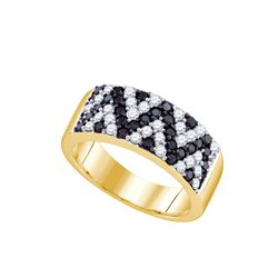 1 CTW Black Colored Diamond Chevron Band 10K Yellow Gold
