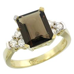Natural 2.86 ctw smoky-topaz & Diamond Engagement Ring 10K Yellow Gold - REF-53R5Z