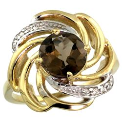 Natural 2.25 ctw smoky-topaz & Diamond Engagement Ring 14K Yellow Gold - REF-57Y8X