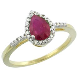 Natural 1.03 ctw ruby & Diamond Engagement Ring 14K Yellow Gold - REF-34W3K