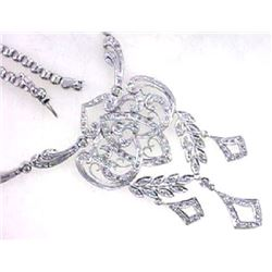 14K White Gold 1.59CTW Diamond Necklace - REF-377H9W