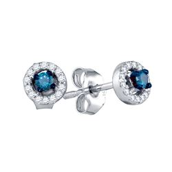 0.2 CTW Blue Colored Diamond Stud Earrings 10K White Gold