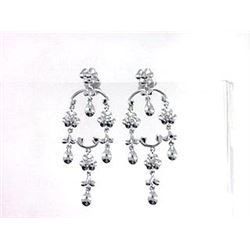 14K White Gold 0.19CTW Diamond Earring - REF-67Y8X