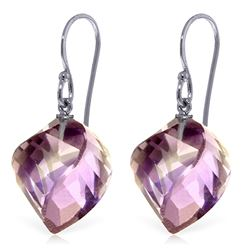 Genuine 21.5 ctw Amethyst Earrings Jewelry 14KT White Gold - REF-36Y9F