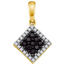 0.3 CTW Black Colored Diamond Square Cluster Pendant 10K Yellow Gold