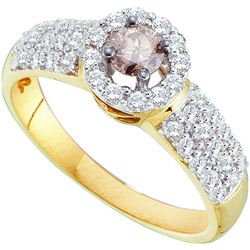 0.75 CTW Cognac-brown Solitaire Diamond Halo Bridal Engagement Ring 14K Yellow Gold