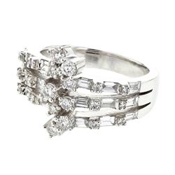 Baguette & Round 3-way Split Shank Diamond Ring in 18K White Gold - REF-205A9N