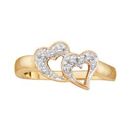 0.07 CTW Natural Diamond Small Double Heart Love Fine Ring 10K Yellow Gold