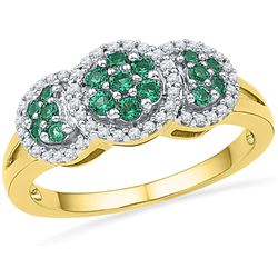 0.43 CTW Lab-Created Emerald Diamond Cluster Ring 10K Yellow Gold