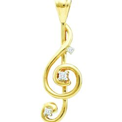 0.06 CTW Natural Diamond Treble Clef Music Note Pendant 10K Yellow Gold