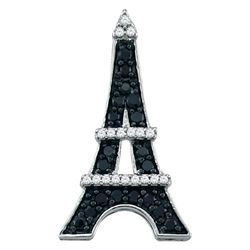 0.33 CTW Black Colored Diamond Eiffel Tower French France Pendant 10K White Gold