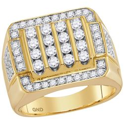 2 CTW Mens Natural Diamond Square Cluster Ring 10K Yellow Gold