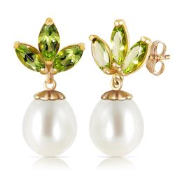 Genuine 9.5 ctw Peridot & Pearl Earrings Jewelry 14KT Yellow Gold - REF-31H2X