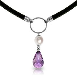 Genuine 7.5 ctw Amethyst & Pearl Necklace Jewelry 14KT White Gold - REF-52K9V