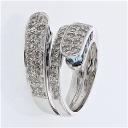 Bypass Diamond Ring Pave-set w/ Topaz in 14K White Gold - REF-120F7M