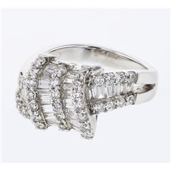 Baguette & Round Diamond Knot Ring in 18K White Gold - REF-235A4N