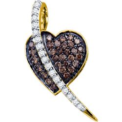 0.5 CTW Cognac-brown Colored Diamond Heart Love Pendant 10K Yellow Gold