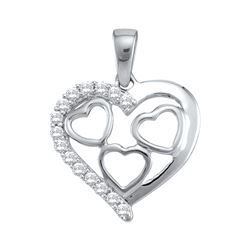 0.18 CTW Natural Diamond Heart Love Valentines Pendant 10K White Gold