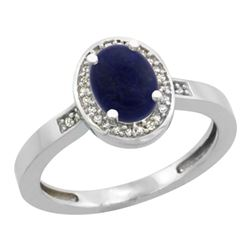 Natural 0.83 ctw Lapis & Diamond Engagement Ring 14K White Gold - REF-30M2H
