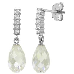 Genuine 4.65 ctw White Topaz & Diamond Earrings Jewelry 14KT White Gold - REF-36F2Z