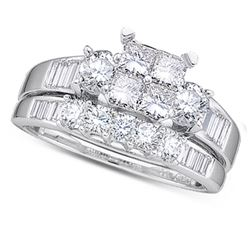 0.91 CTW Princess Natural Diamond Bridal Engagement Ring 10K White Gold