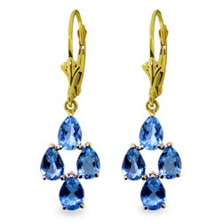 Genuine 4.5 ctw Blue Topaz Earrings Jewelry 14KT Yellow Gold - REF-41H2X