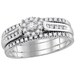 0.25 CTW Natural Diamond Cluster 1/4 Cttw Three-piece Bridal Set 14K White Gold