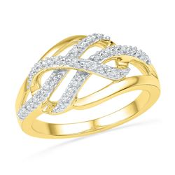 0.06 CTW Natural Diamond Woven Crossover Band 10K Yellow Gold