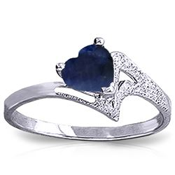 Genuine 1 ctw Sapphire Ring Jewelry 14KT White Gold - REF-43M2T