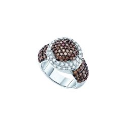 2 CTW Cognac-brown Colored Diamond Cluster Large Cocktail Ring 10K White Gold