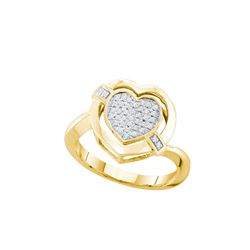 0.15 CTW Natural Diamond Heart Love Cluster Ring 10K Yellow Gold
