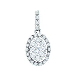 0.5 CTW Natural Diamond Oval Cluster Pendant 14K White Gold