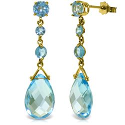 Genuine 13.2 ctw Blue Topaz Earrings Jewelry 14KT Yellow Gold - REF-39W3Y