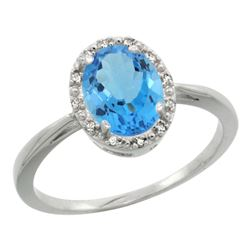 Natural 1.22 ctw Swiss-blue-topaz & Diamond Engagement Ring 14K White Gold - REF-27H2W