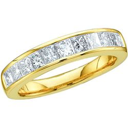 0.5 CTW Natural Channel-set Princess Diamond Ladies 3mm Size 5 Band 14K Yellow Gold