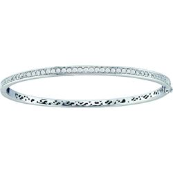 1 CTW Pave-set Natural Diamond Classic Bangle Bracelet 14K White Gold